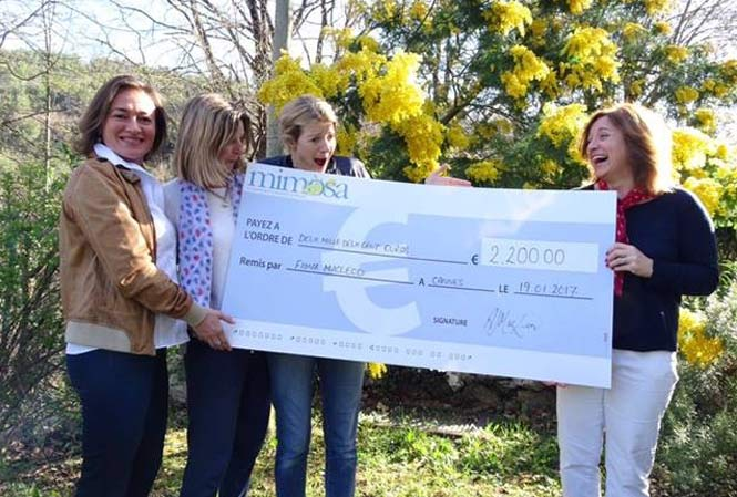 Ladies with Mimosa's cheque for funds raised