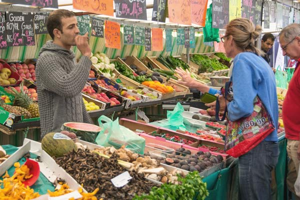 Market with fruit and veg