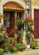 French Riviera doorway with flowers