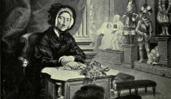 Mme Tussaud, age 85, at desk