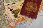 French Riviera map with UK Passport, pounds and euros