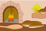 Bread oven in a bakery