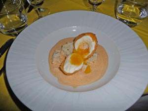 Coral Crusted Egg over Cauliflower Mash and Blue Lobster Cream