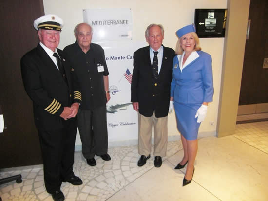 Pan Am pilots Tom Carroll  and Don Cooper; District Sales Manager for Southern France Max Gurney and Flight Stewardess Mary Lou Bigelow